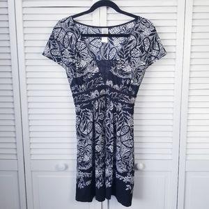 In Bloom Black & White Short Sleeve Sleep Dress